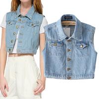 Fashion summer women's vintage design sleeveless short denim jacket vest