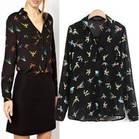 2014 spring winny chiffon shirt V-neck multicolour print chiffon shirt female long-sleeve shirt