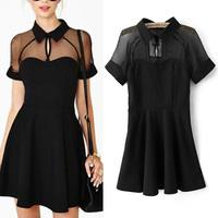 Fashion 2014 summer winny  perspectivity organza short  one-piece dress expansion