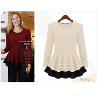 2014 spring o-neck long-sleeve wave sweep color block slim t-shirt top fashion basic shirt