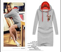 2014 spring with a hood sweatshirt one-piece dress long-sleeve slim basic skirt kangaroo pocket sweatshirt one-piece dress