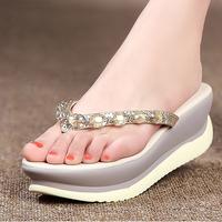 2014 summer crystal female flip slippers wedges high-heels platform sandals rhinestone flip flops shoe