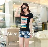 feeling dress fashion summer New 2014 T-Shirt XXL Plus Size Women Clothing striped  Women Tops Tee Short T Shirt four colors