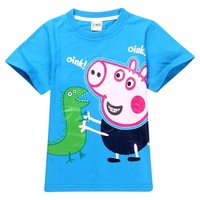 Free Shipping Retail 2014hot New Arrival Peppa Pig T-shirt White Pink Children T shirt Girls Clothes Boy Tees 100% Cotton
