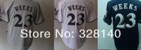 No.23 Rickie Weeks White Blue Grey Jersey Brewers Infielders#23 Rickie Weeks White Blue Grey Cool Base Baseball Jersey