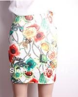 Free Shipping Fashion New Design Flowers Print High Waist Women Skirt Short Lady Skirt