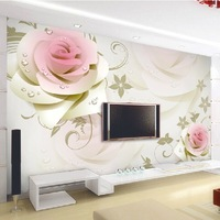 Mural tv machine background wallpaper modern brief rose three-dimensional hd