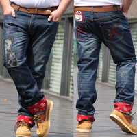 men jeans sizes W42 W44 W46 bleached blue color mid-rise loose cool denim straight ripped jeans pant plus size