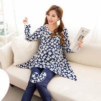 Autumn Winter Long-sleeved Pullover 100% Cotton Breastfeeding Clothes Snowflake Maternity Clothes Nursing Pajamas Set Sleepwear
