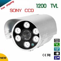 "Free shipping 2014 NEW 1/3"" SONY CCD HD 1200TVL Waterproof Outdoor security camera 6 Pcs array led IR 80 meter CCTV Camera"