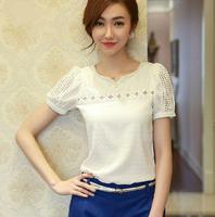 2014 Summer New Chiffon Shirt Women Slim Thin Openwork Beaded Lace Shirt-Sleeved Blouse