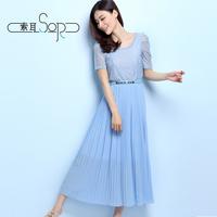 free shipping 2014 short-sleeve lace full dress slim pleated dress bohemia full dress beach one-piece dress female