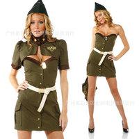 Fashion female police uniform Army Green female police clothes stewardess cosplay uniform loading