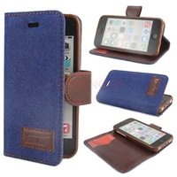 Jeans Wallet Flip Leather Stand Case Cover Skin For Apple iPhone 5C Darkblue Promotion Wholesales Free Dropshipping