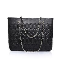 Hot Sale Black and Rose Large Vintage Tote Bag Plaid Chain 100% Genuine Lambskin Leather Classic Shoulder Bag Messenger Bag