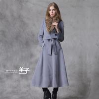Autumn winter woman's elegant maxi coat single breasted trench coat ankle length oversize coat  plus size S-XXL