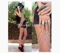 F05 Fashion Body Chain Leg Jewelry Long 4 Layers Gold Silver Gun Black