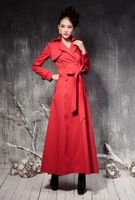 Spring autumn women's x-long double breasted trench outerwear slim maxi coat ankle length coat  red black plus size