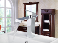 92257 Construction & Real Estate Single Handle Chrome Finished Faucets Bathroom Wide Spout Waterfall Basin Mixer Sink Tap