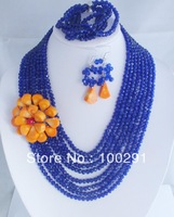Free shippin !!! Fashion jewelry blue purple crystal beads chain with orange coral flower necklace bracelet and earring set
