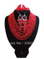 H2015G :Red Fashion Ladies' Elagent Coral Jewelry Set  bracelet earrings CSET007