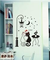 Strightlightsstreetlights cat home decoration living room series mini wall stickers lovers m262