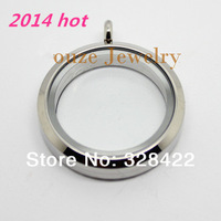 Free shipping magnet Top 30mm 316L Stainless Steel Glass Pendant Floating Charm Locket  LY09