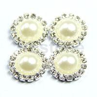 alex  4pcs DIY  Rhinestone Pearl Round Button Sewing Craft Wedding Embellishment