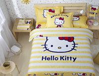 High Quality Brand Hello Kitty 100% Cotton Bedding sets 4pcs Duvet Cover Bed sheet Pillowcase Single Queen King Children Gift