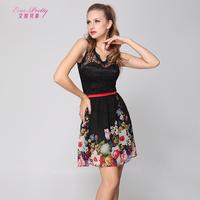 2014 black Betty short design one piece dress print chiffon elegant slim Evening Dresses