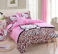 High Quality Hello Kitty Leopard 100% Cotton Bedding sets 4pcs Duvet Cover Bed sheet Pillowcase Single Queen King Children Gift
