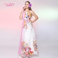 Betty beach full print chiffon evening dress long design plus size fashion sexy evening dress