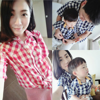 Luson 2014 summer baby children's clothing plaid 100% turn-down collar cotton shirt tendrils family fashion