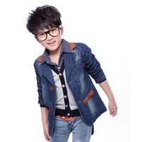 2014 spring and autumn new free fashion boys kids children's clothing denim blazer suit outerwear,coats and jackets for children