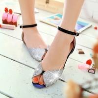 Women's summer flat heel paillette open toe style sandals gladiator flat plus size color block  sandals
