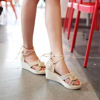 2014 open toe sandals wedges female lacing flower gladiator platform sandals
