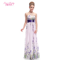 2014 Strapless Ruched Waist Floral Printed Ladies Party Dress print chiffon tube top beach full dress