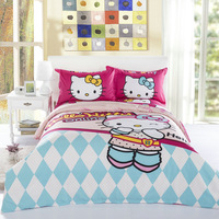 Decoration Quality Flying Hello Kitty 100% Cotton Bedding Set Duvet Cover Bed sheet Pillowcase Single Queen Children Gift