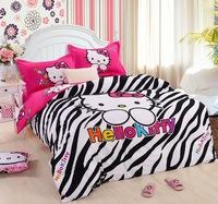 Decoration Quality Zaba Cute Hello Kitty 100% Cotton Bedding Set Duvet Cover Bed sheet Pillowcase Single Queen Children Gift