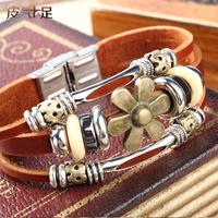 Lo yin Pollen colored glaze steel buckle bracelet fashion bracelet multi-layer vintage cowhide bracelet