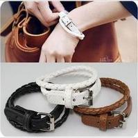 Lo yin Strap type fashion bracelet female leather star multi-layer woven pattern buckle bracelet