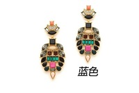 European fashion style artificial stones inlaid opal candy colors exaggerated pendant earrings jewelry wholesale C116