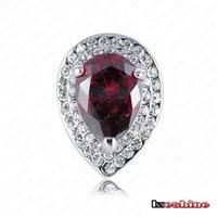 18K gold ringHot gold color retention of high-grade platinum ring inlaid Austrian crystal wholesale zircon burgundy 0233-e