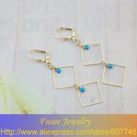 IZE00628 18K Gold Filled luxury Square pendant earrings 2PCS/LOT