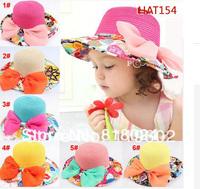 1pc Big Chiffon Bowknot Baby Girls summer paper straw hat large brimmed Children sun hat UV sun visor beach cap free Shipping