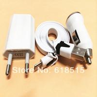 200set 3 in 1 Mobile phone 200 pcs EU Plug +200pcs Car charger +200pcs data USB Cable Kit for samsung