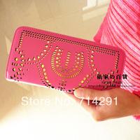 Brand new high quality woman Wallet 2014 fashion zipper cutout long design women's wallet day clutch free shipping