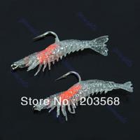 2pcs 58mm 3g Soft Silicone Prawn Shrimp Fishing Lure Hook Bait+Free Shipping