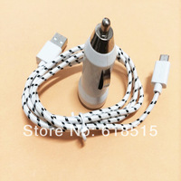 2 in 1 NEW high quality Braided Wire Micro V8 Cable USB Data +mini car charger for samsung for htc