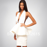 2014NEW brand SEXY low V-neck backless night club women dress exaggerate cascading ruffles bodycon bandage lady evening dress